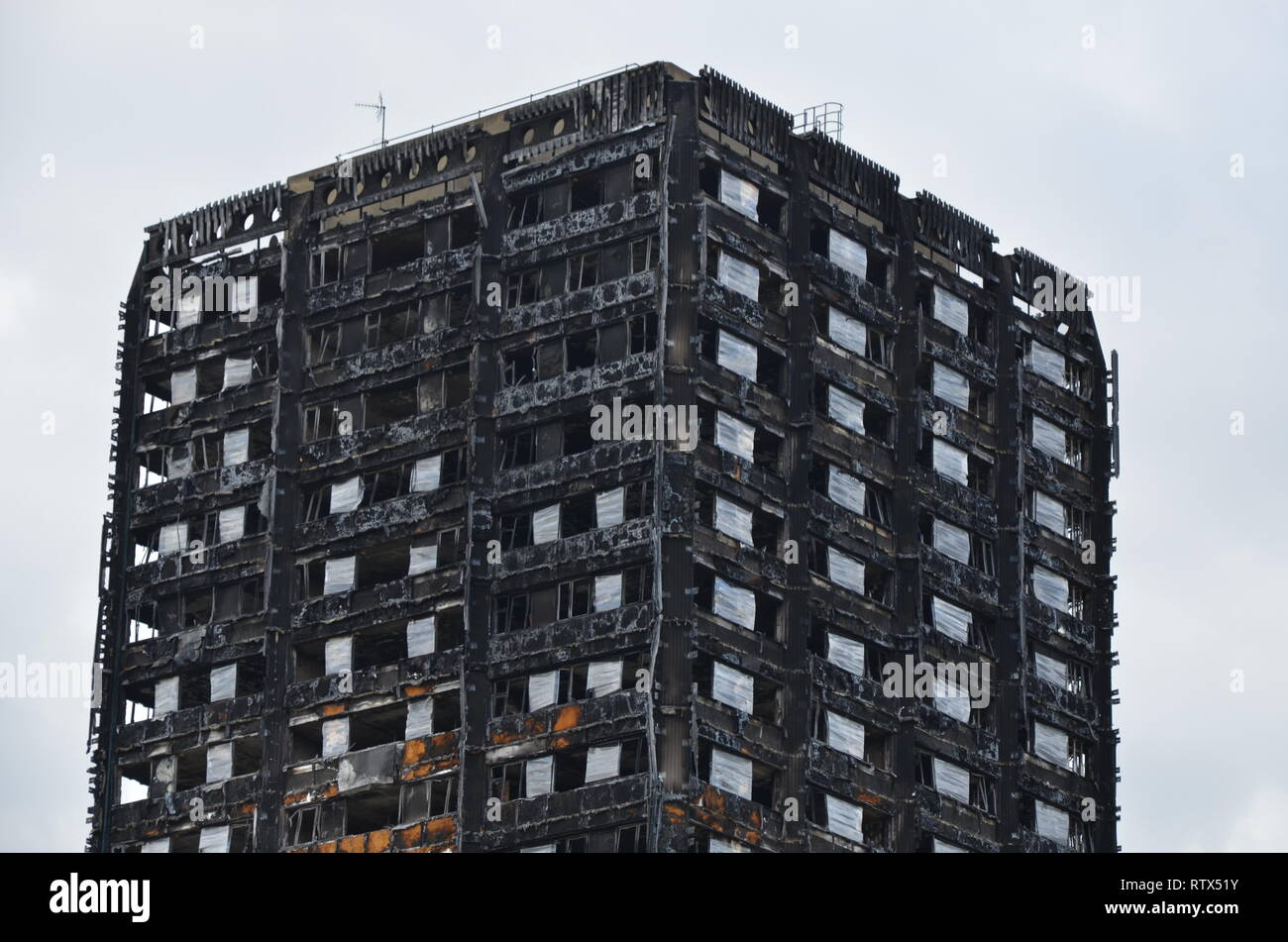 Grenfell tower fire, London, disaster zone - Stock Image