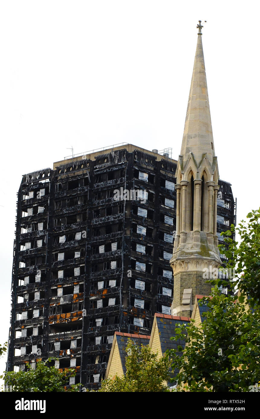 Grenfell tower fire, environmental pollution, contamination of environment Stock Photo