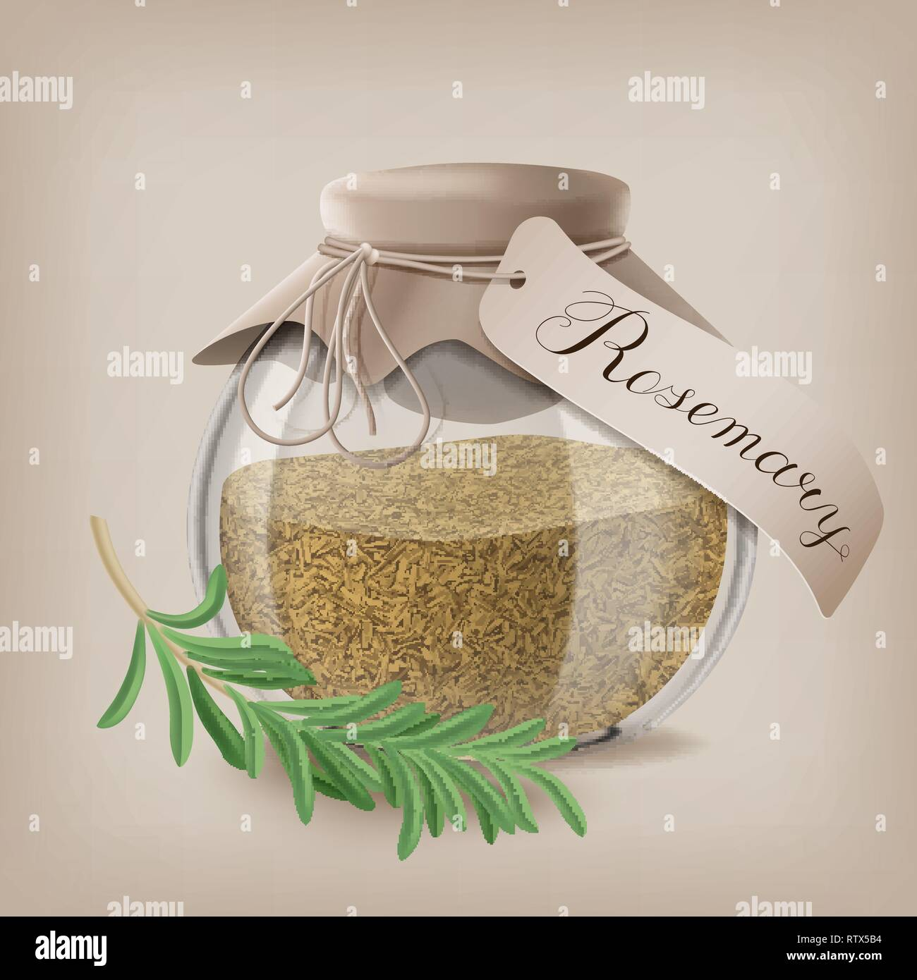 Crushed rosemary spice in a glass jar with a sprig of rosemary. Vector illustration - Stock Image
