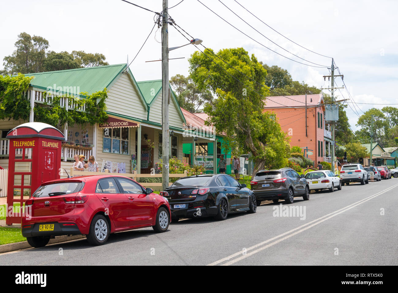 Tilba, NSW, Australia-December 27, 2018 : Street view in the historical city of Tilba, classified by the National Trust as the Central Tilba Conservat - Stock Image