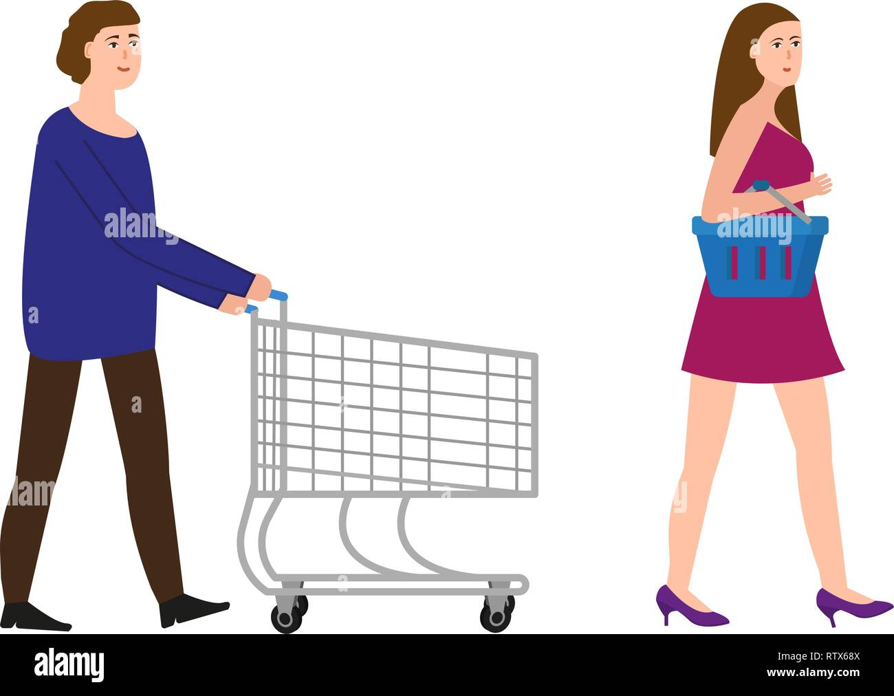 A guy with a shopping trolley, a girl with a shopping basket, vector illustration - Stock Vector