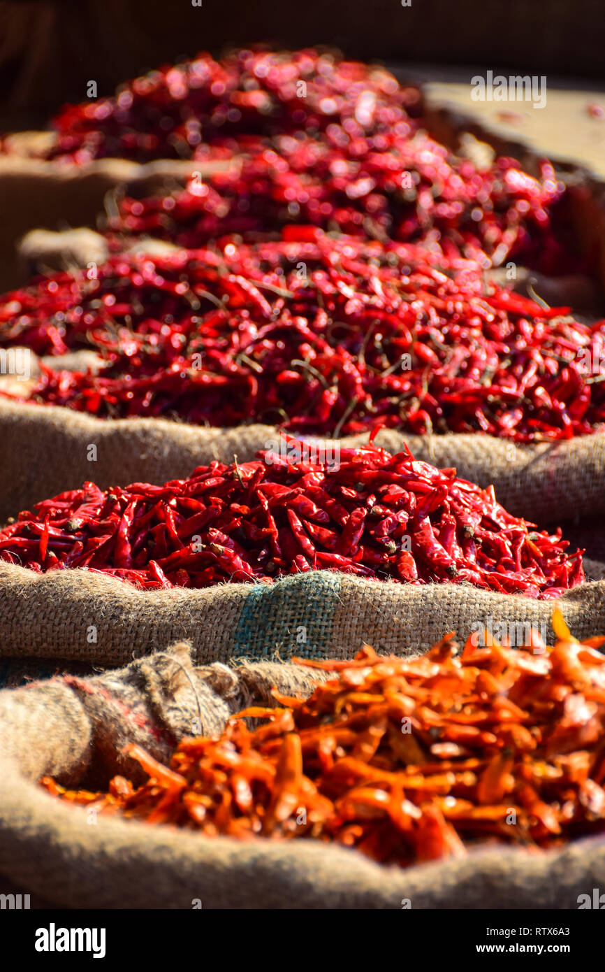 Red Chillies in sacks, Khari Baoli,  Bustling Indian Wholesale Spice Market, Old Delhi, India - Stock Image