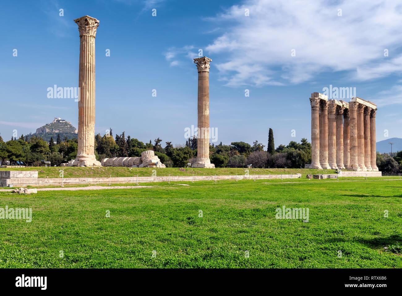 Olympian Zeus columns, Athens Greece - Stock Image