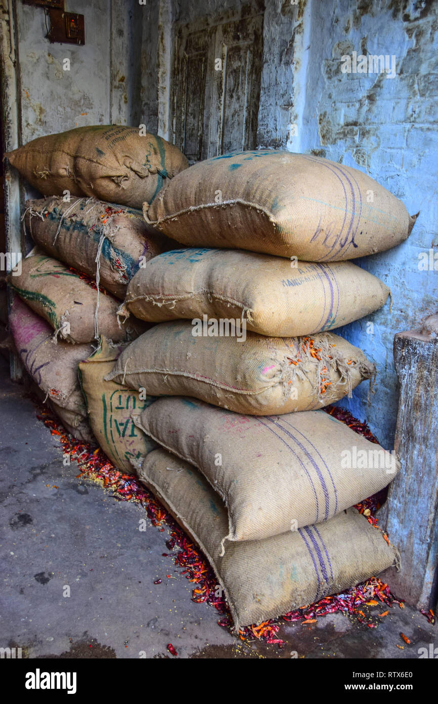 Sacks of Spices Chillies, Khari Baoli,  Bustling Indian Wholesale Spice Market, Old Delhi, India - Stock Image