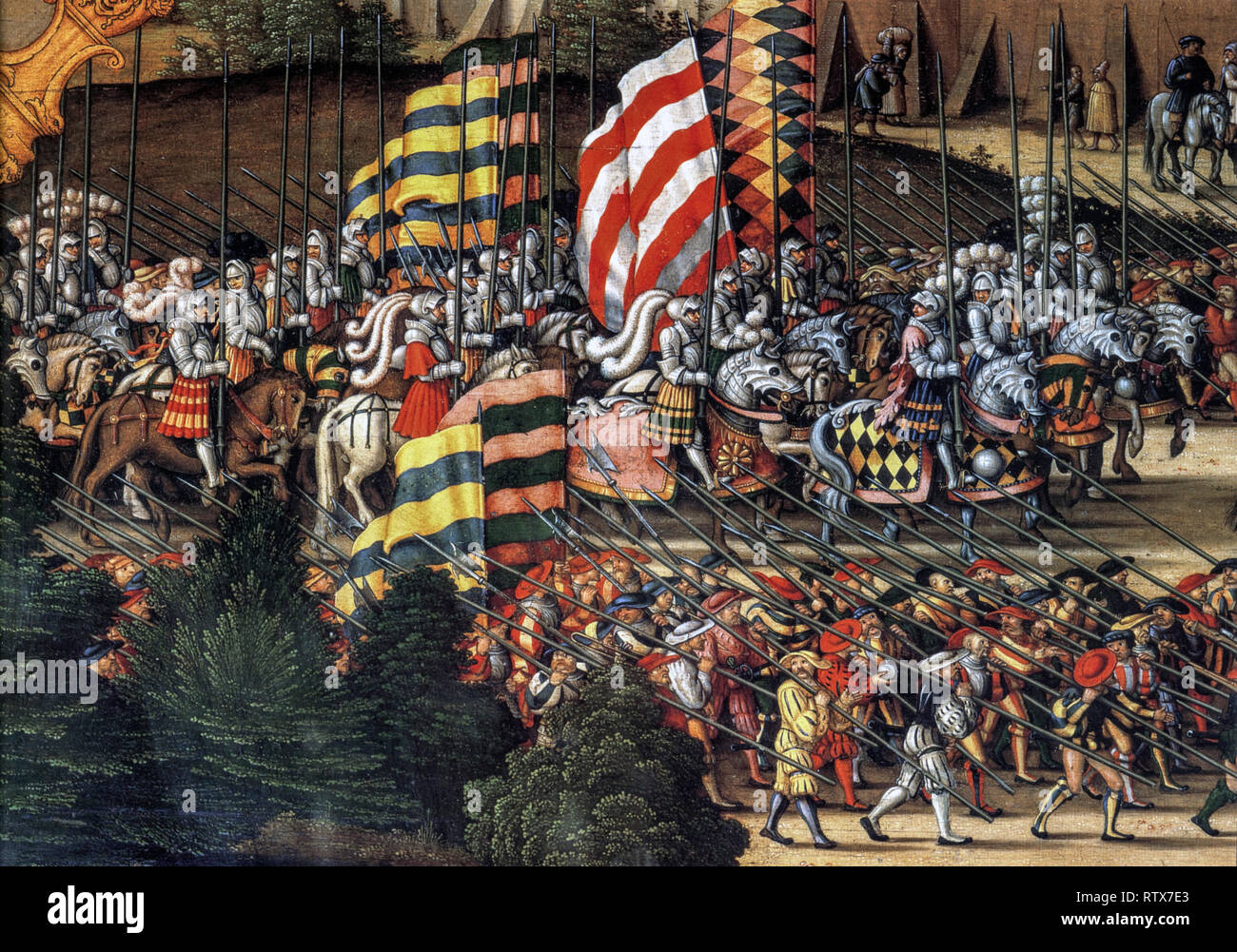 Four episodes of the History of David. Oil on the table . 1534. The women of Jerusalem run to meet Saul and David. Particular. The army By Hans Sebald Beham - Stock Image
