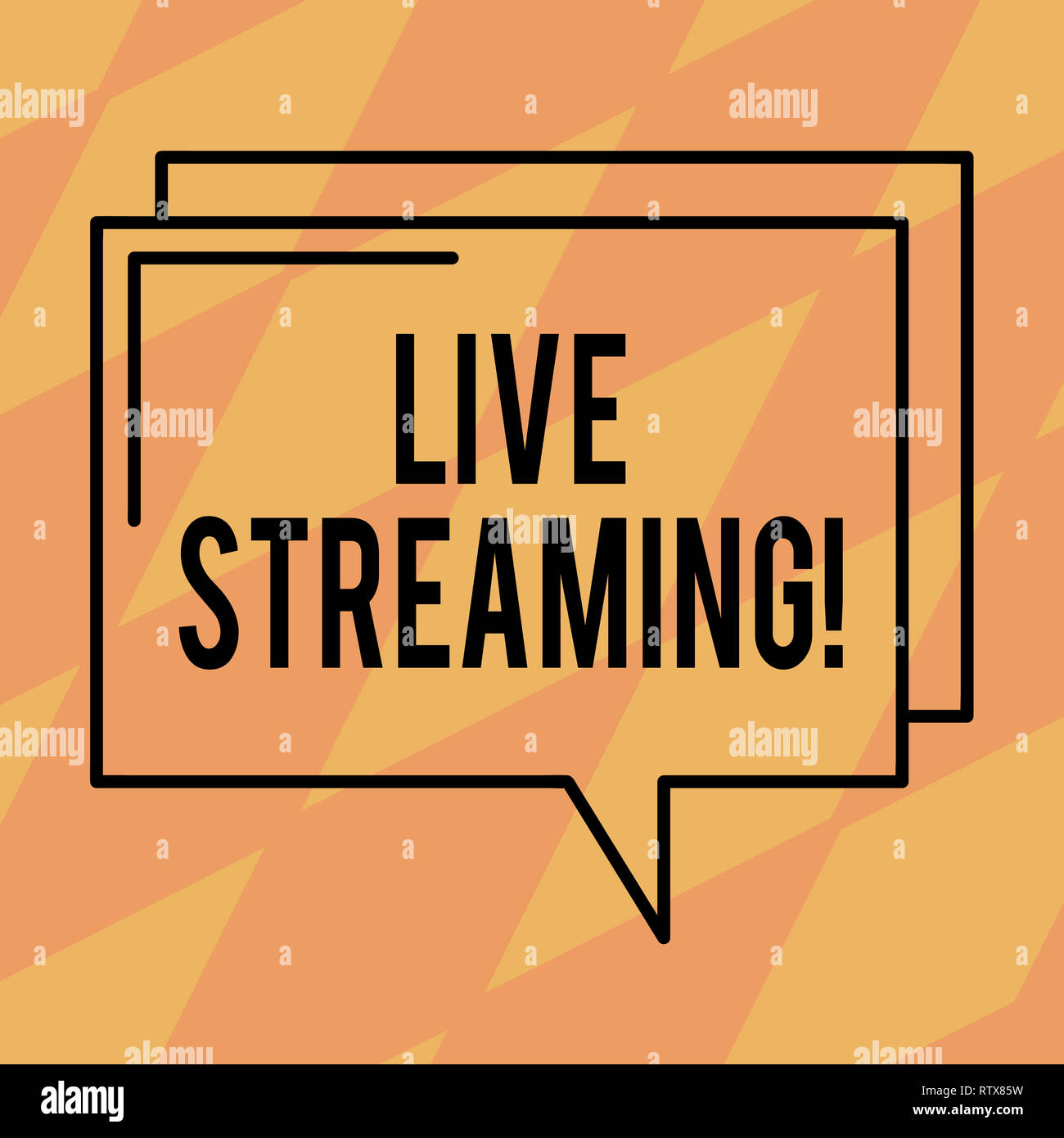 Text sign showing Live Streaming. Conceptual photo Media realtime transmission Multimedia Technology Broadcast Rectangular Outline Transparent Comic S - Stock Image