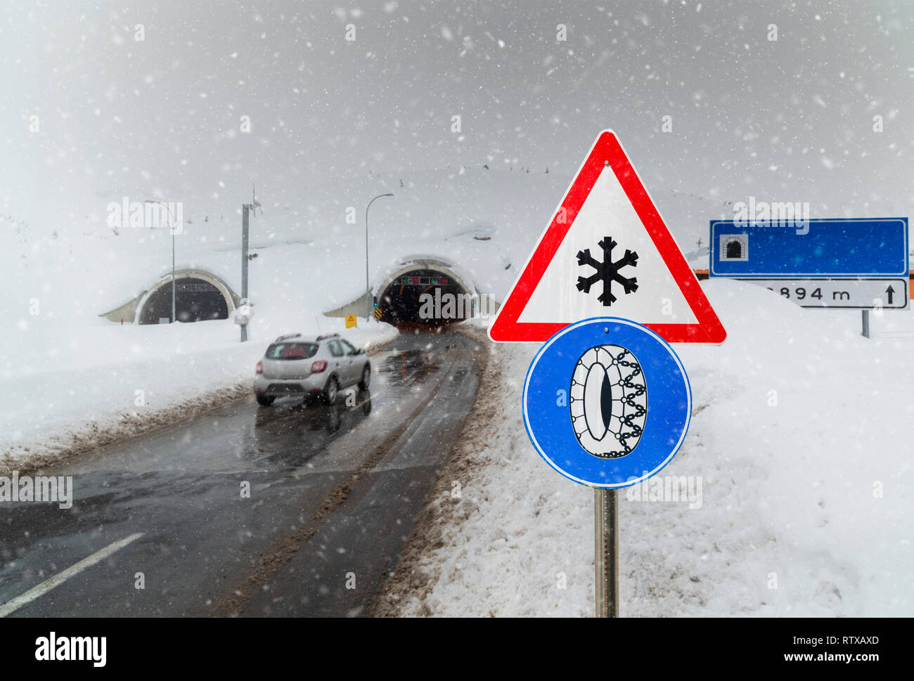 winter driving, icy and slippery roads - Stock Image