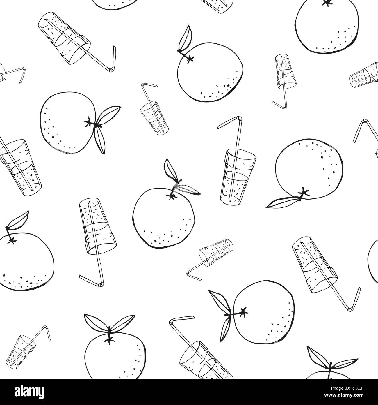 Whimsical hand-drawn doodle oranges and juice vector seamless pattern background. Abstract Line Art Summer Fruits Graphic Print Perfect for Kids. - Stock Image