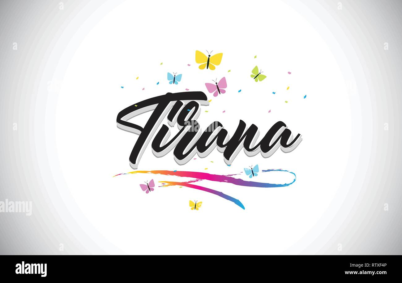 Tirana Handwritten Word Text with Butterflies and Colorful Swoosh Vector Illustration Design. - Stock Vector