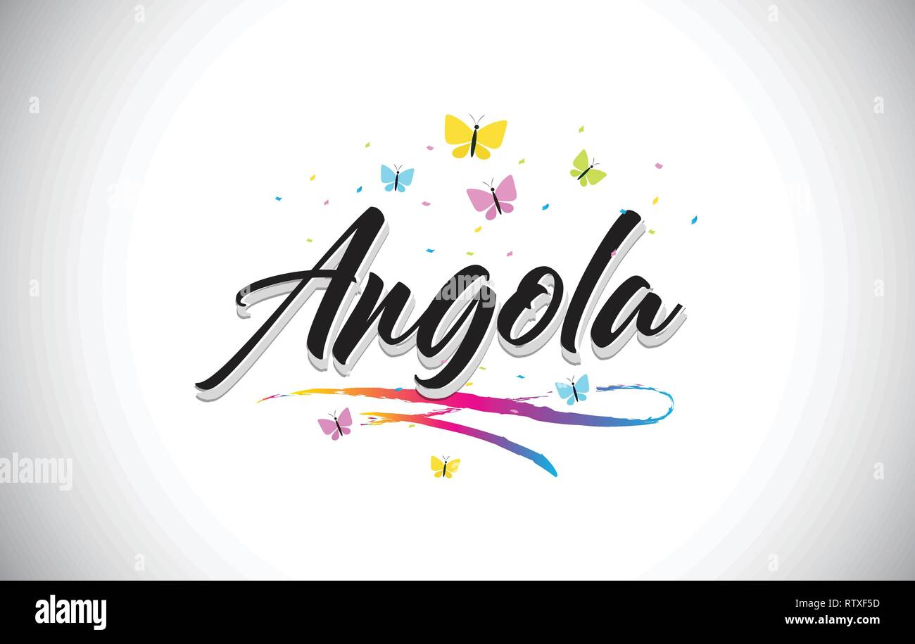 Angola Handwritten Word Text with Butterflies and Colorful Swoosh Vector Illustration Design. - Stock Vector