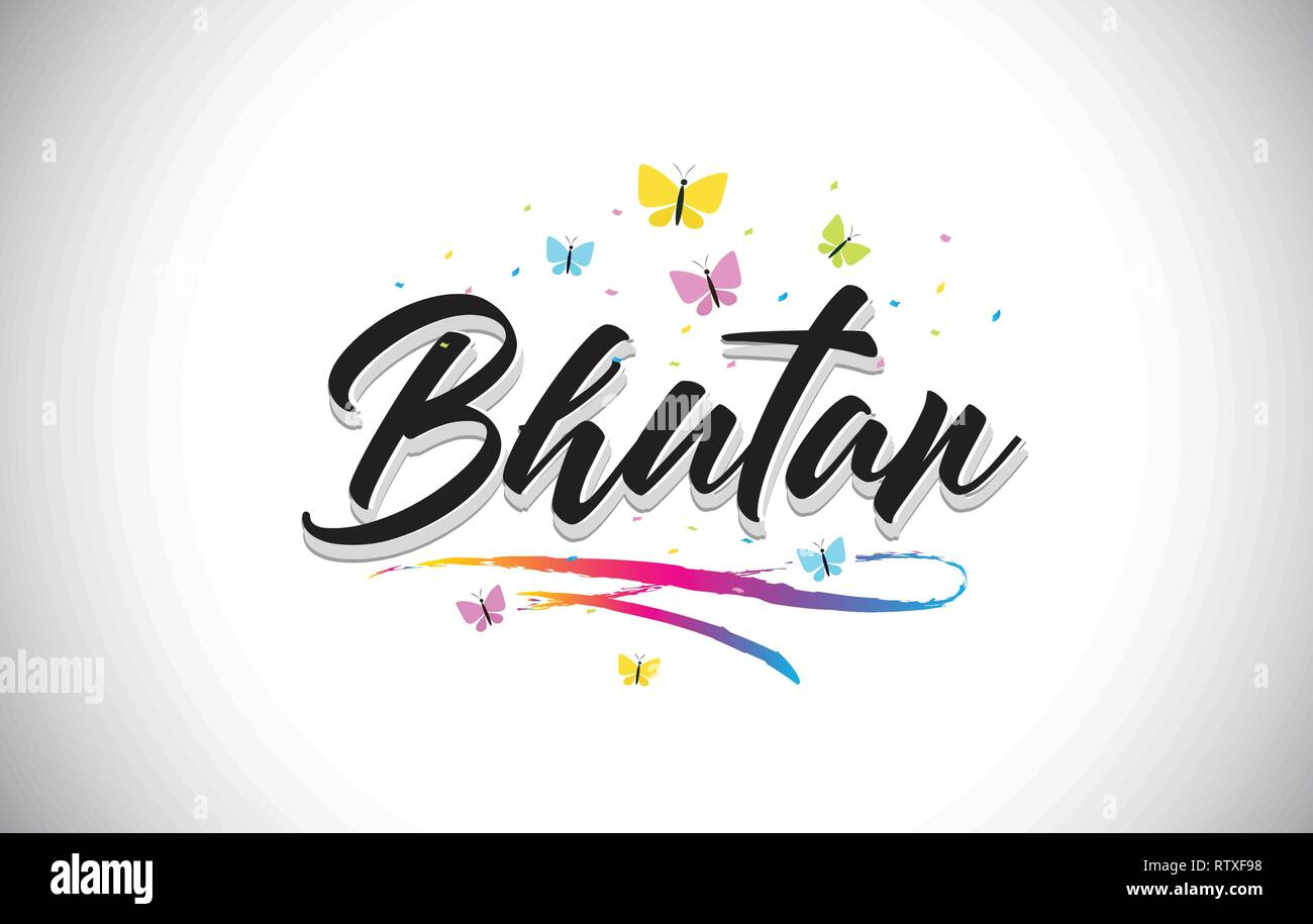 Bhutan Handwritten Word Text with Butterflies and Colorful Swoosh Vector Illustration Design. - Stock Vector
