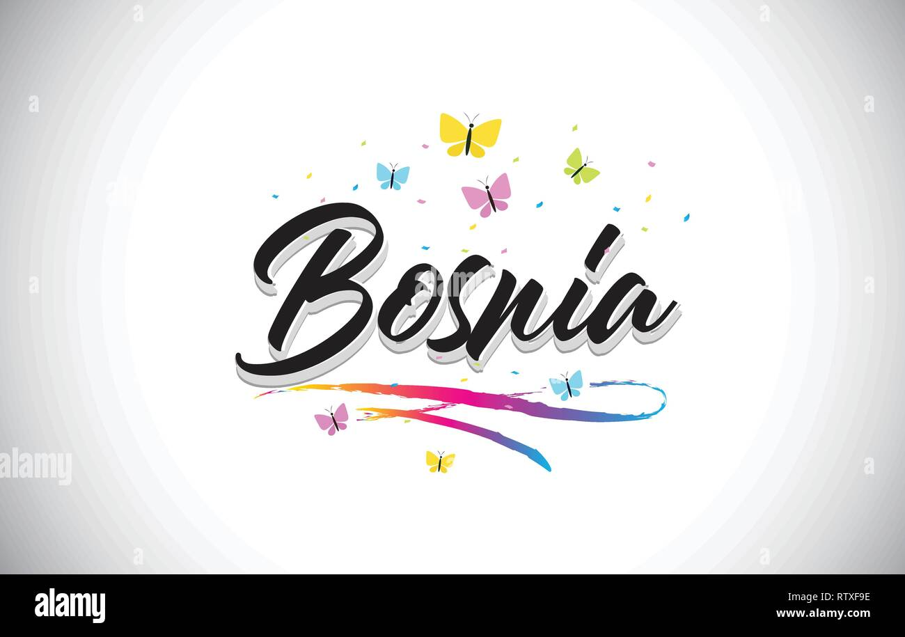 Bosnia Handwritten Word Text with Butterflies and Colorful Swoosh Vector Illustration Design. - Stock Vector