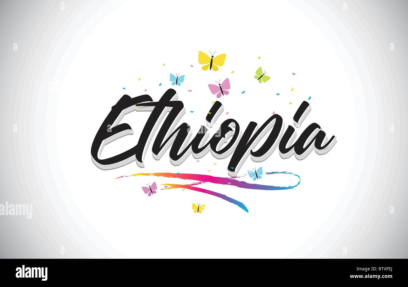 Ethiopia Handwritten Word Text with Butterflies and Colorful Swoosh Vector Illustration Design. - Stock Vector