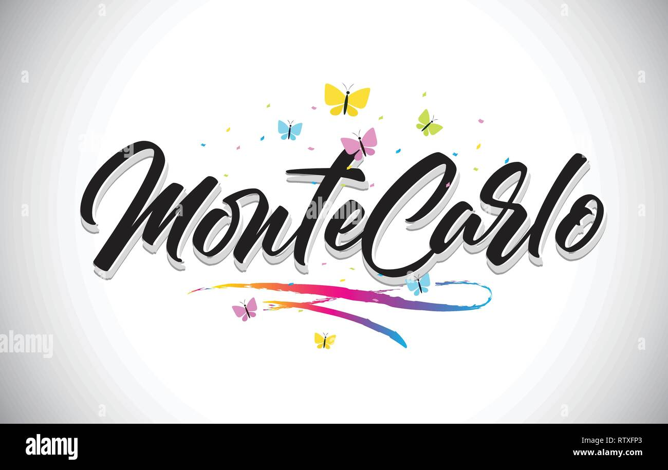 MonteCarlo Handwritten Word Text with Butterflies and Colorful Swoosh Vector Illustration Design. - Stock Vector