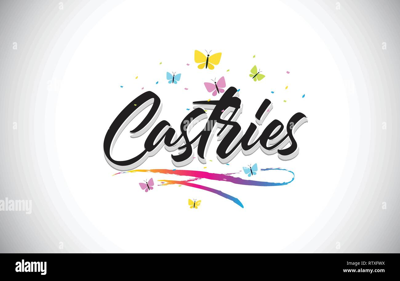 Castries Handwritten Word Text with Butterflies and Colorful Swoosh Vector Illustration Design. - Stock Image