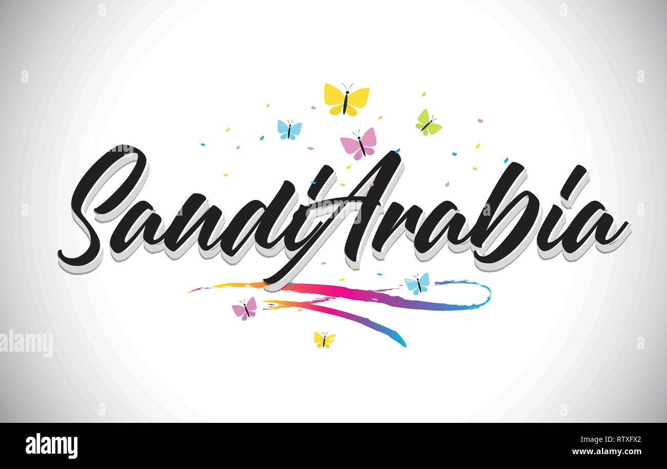 SaudiArabia Handwritten Word Text with Butterflies and Colorful Swoosh Vector Illustration Design. - Stock Image