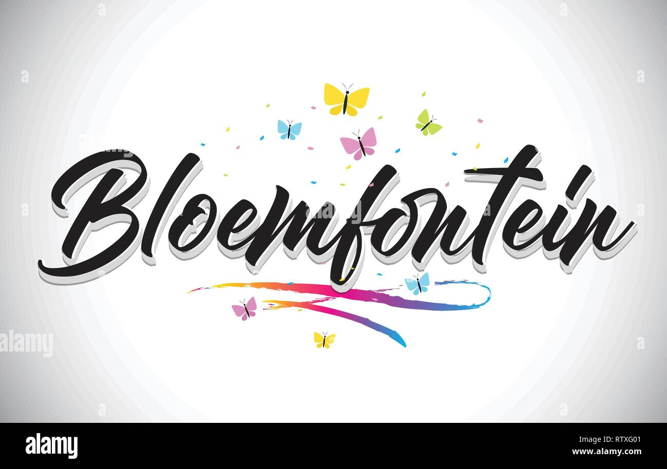 Bloemfontein Handwritten Word Text with Butterflies and Colorful Swoosh Vector Illustration Design. - Stock Image