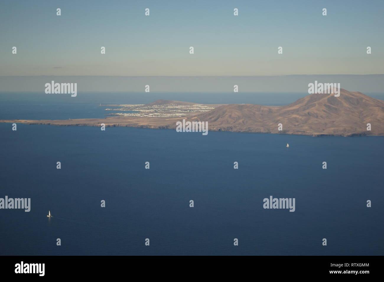 Lanzarote, vom Flugzeug aus gesehen, Kanarische Inseln, Spanien - Stock Image