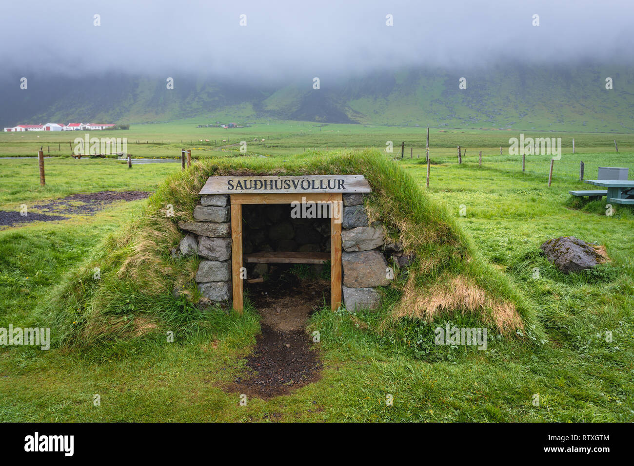 Saudhusvollur shed in South part of Iceland - Stock Image