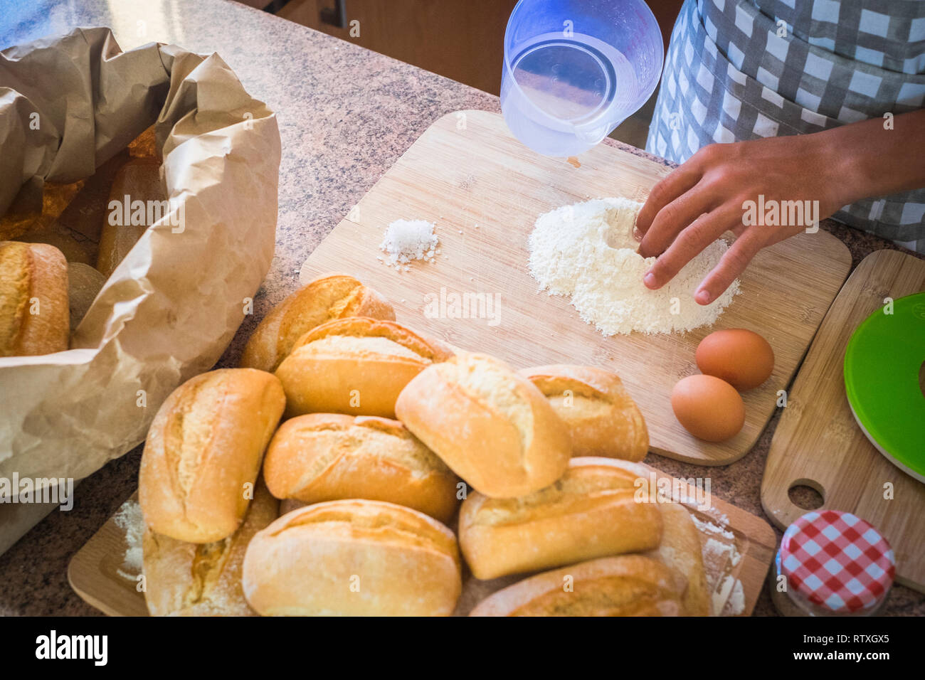 Bakery production with old handmade system - eggs and farina to make bread at home or in the store - healthy food - business concept - top above view  - Stock Image