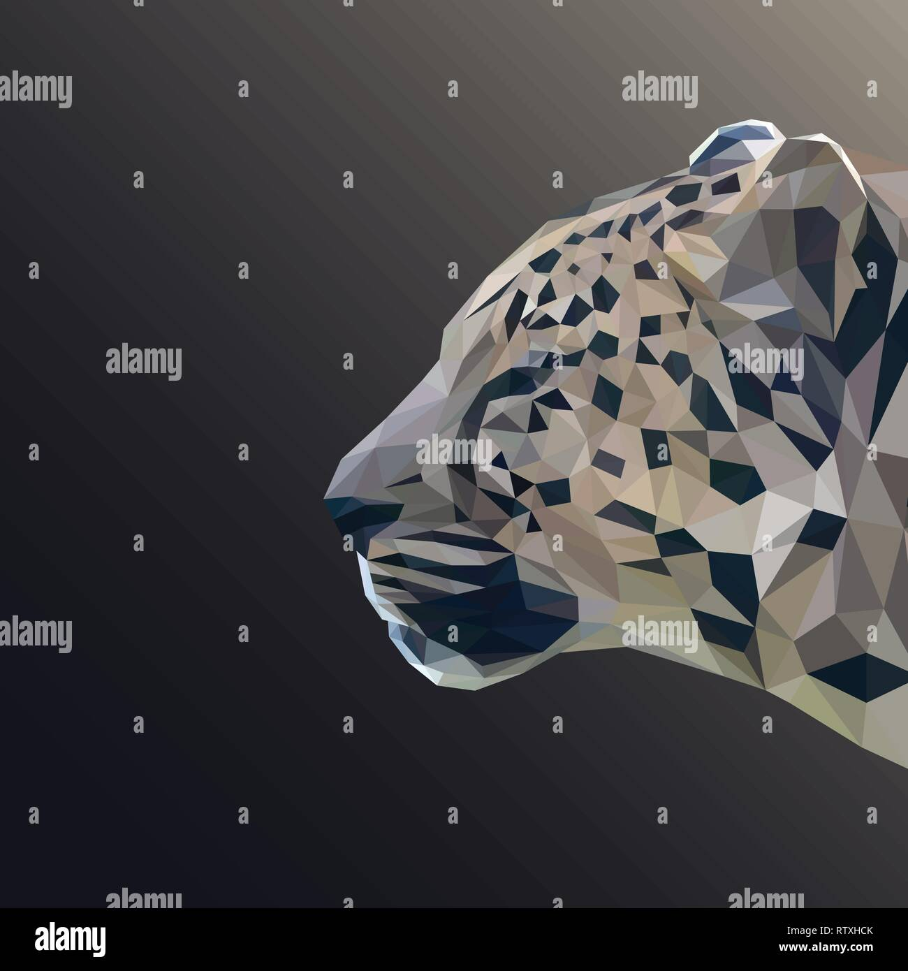 Cheetah cat low poly design. Triangle vector illustration. - Stock Image