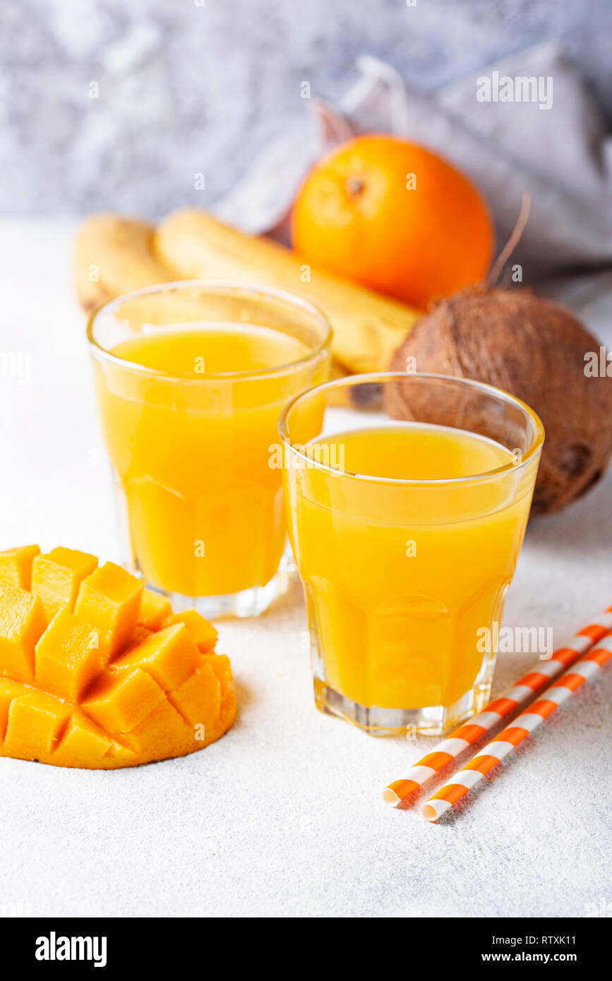 Fresh tropical mix fruit juice - Stock Image