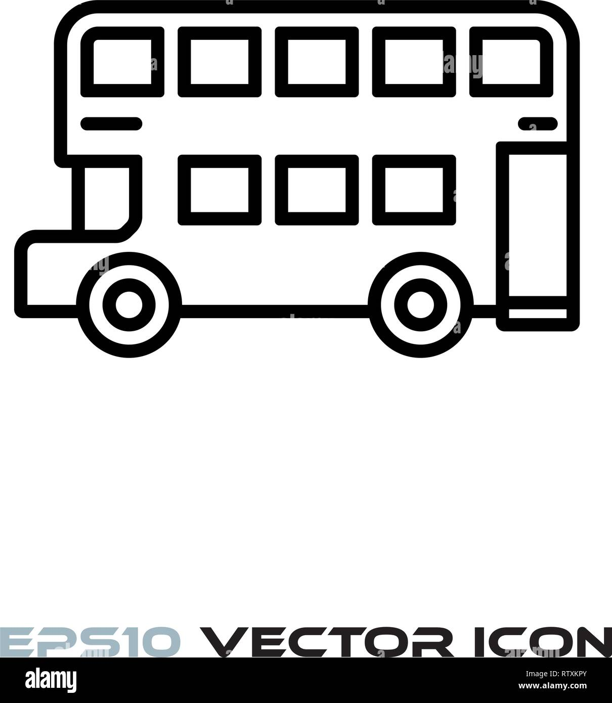 Doubledecker bus flat line icon vector illustration - Stock Image