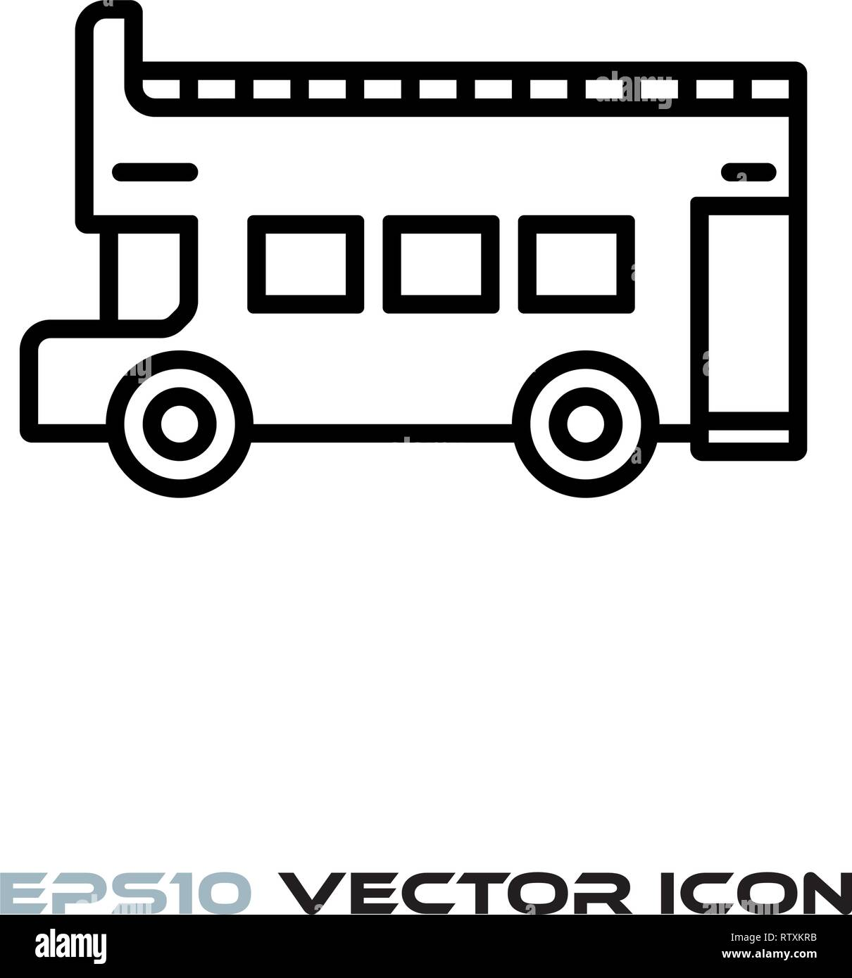 Open top doubledecker bus flat line icon vector illustration - Stock Image