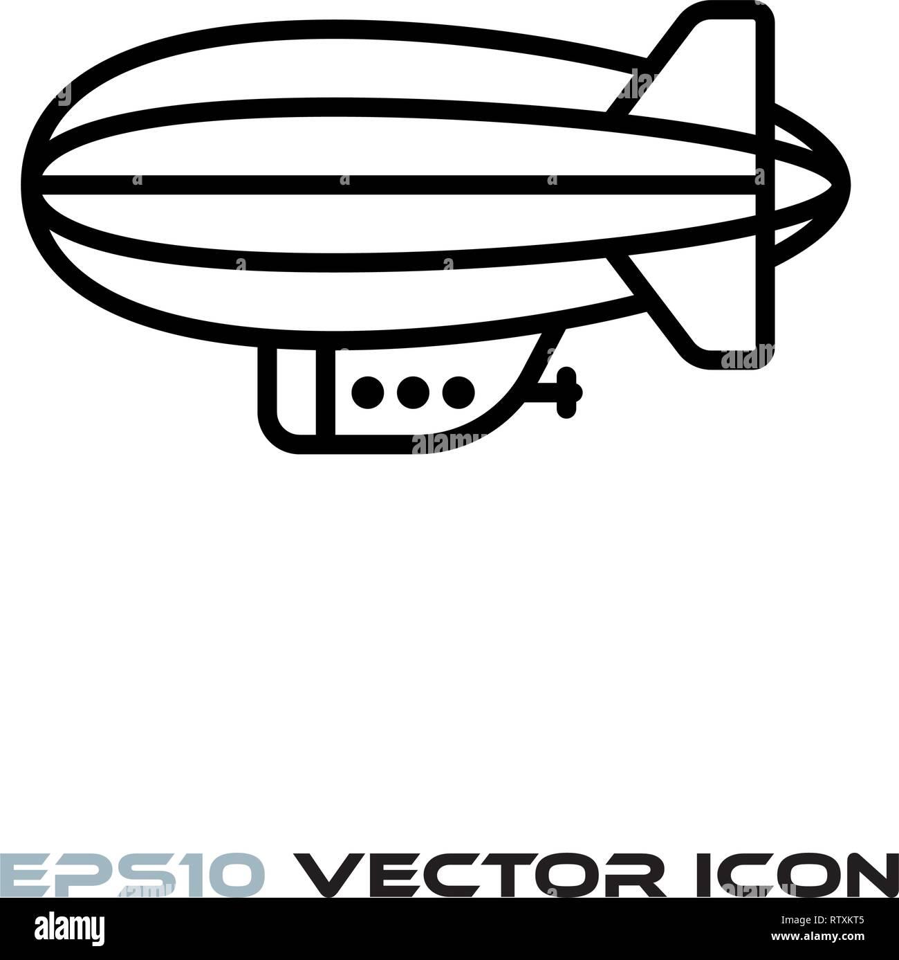 Blimp or zeppelin flat line icon vector illustration - Stock Image