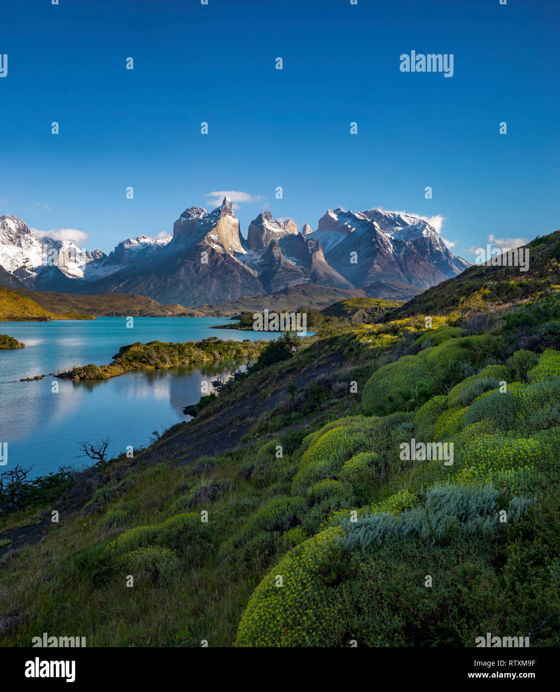The Torres del Paine above Lago Nordenskjold. - Stock Image