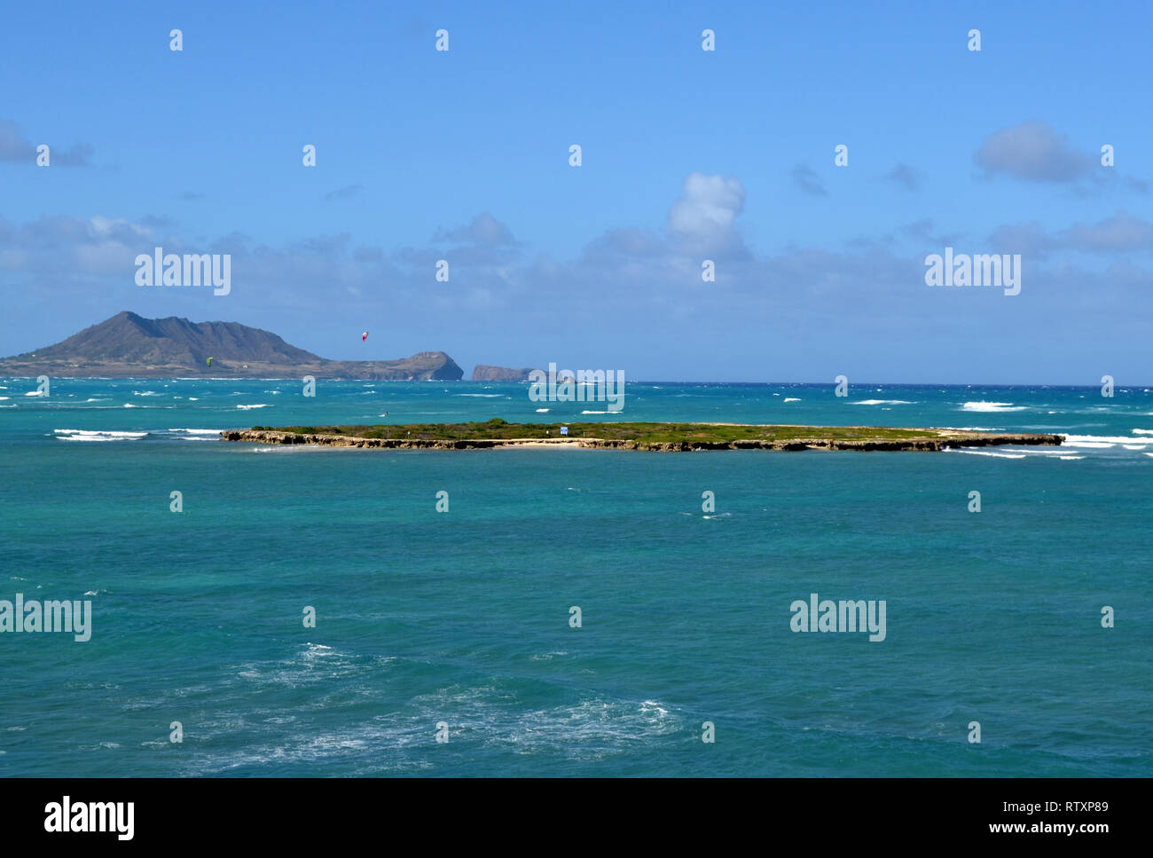Flat Island off Kailua Beach, Oahu, Hawaii, USA Stock Photo