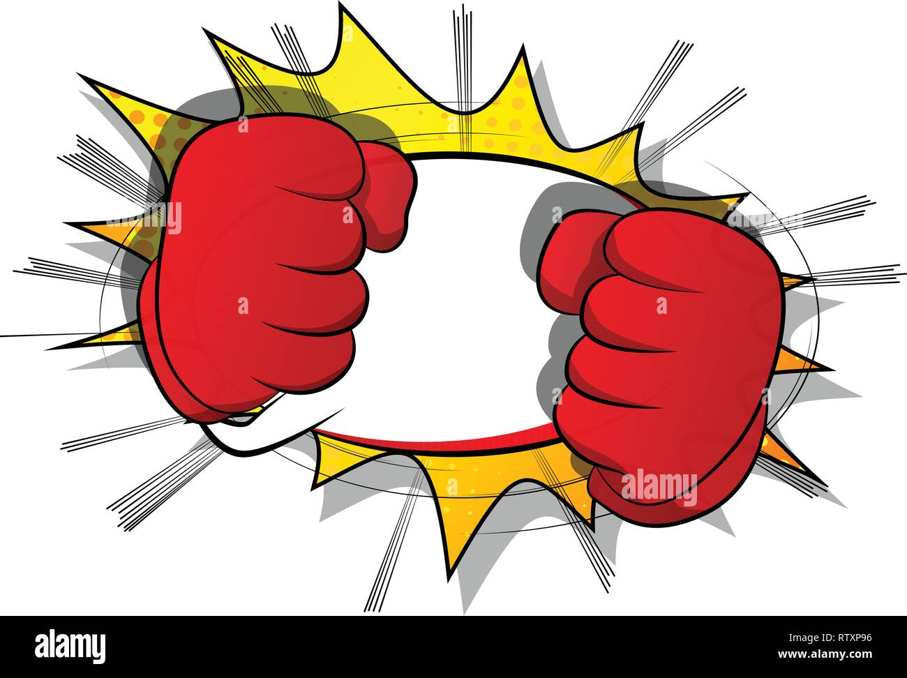 Vector Cartoon Hands Ready To Fight Illustrated Hand Sign On Comic Book Background Stock Vector Image Art Alamy