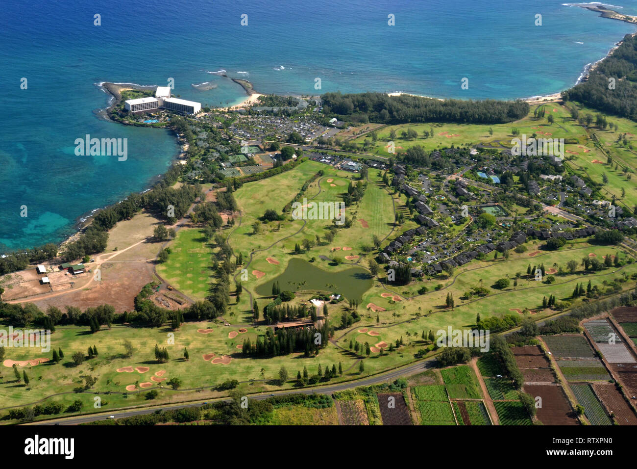 Aerial view of Turtle Bay Resort in the North Shore of Oahu, Hawaii, USA - Stock Image