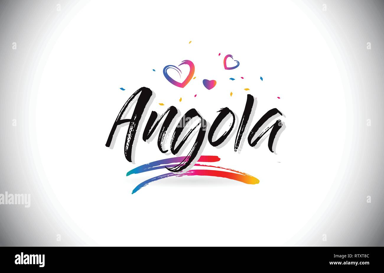Angola Welcome To Word Text with Love Hearts and Creative Handwritten Font Design Vector Illustration. - Stock Vector