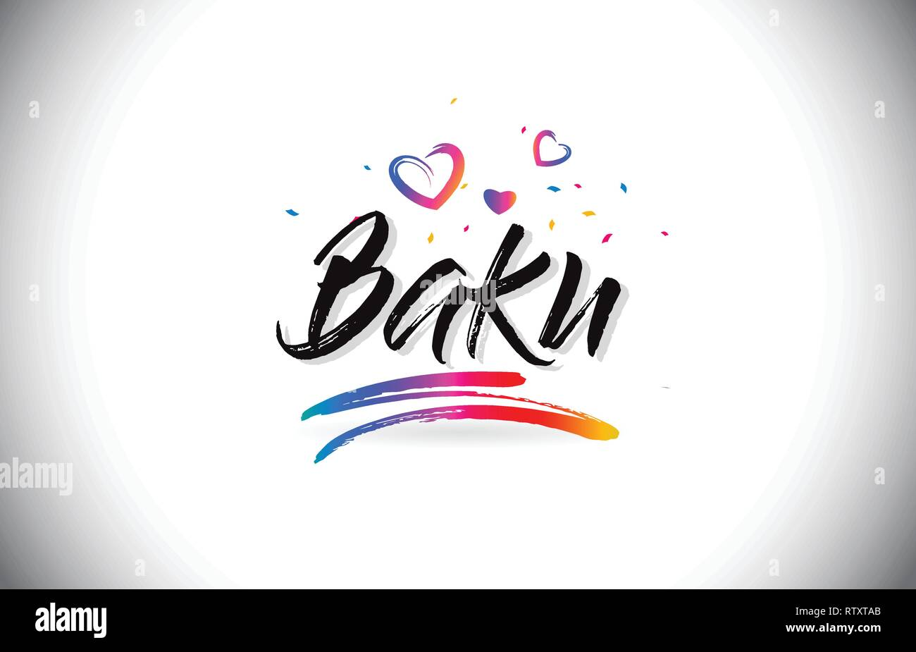 Baku Welcome To Word Text with Love Hearts and Creative Handwritten Font Design Vector Illustration. - Stock Vector