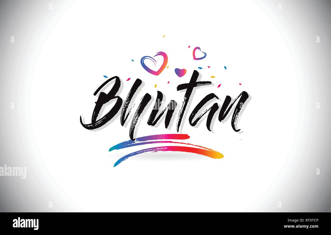Bhutan Welcome To Word Text with Love Hearts and Creative Handwritten Font Design Vector Illustration. - Stock Vector