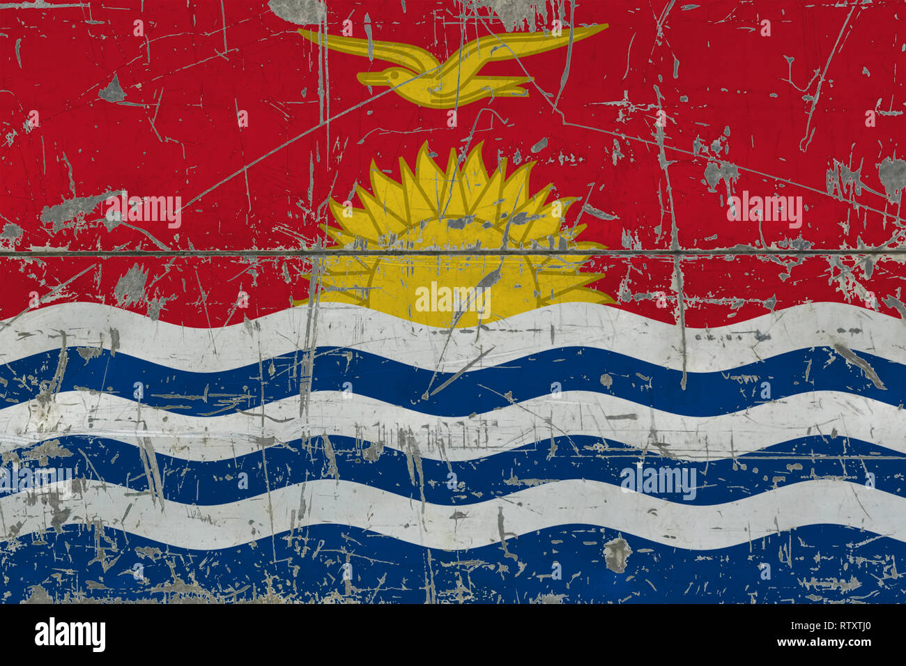 Grunge Kiribati flag on old scratched wooden surface. National vintage background. - Stock Image