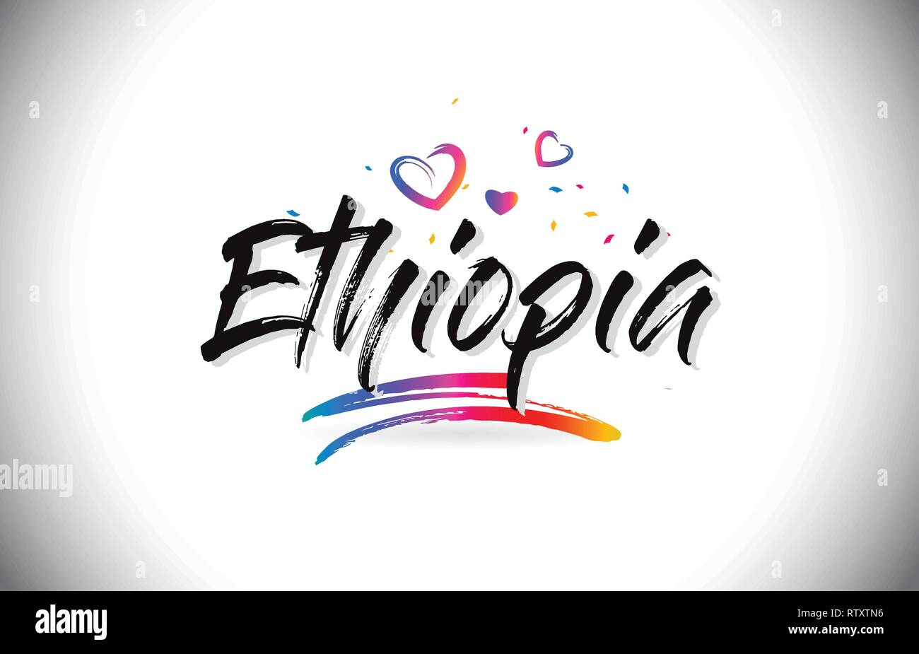 Ethiopia Welcome To Word Text with Love Hearts and Creative Handwritten Font Design Vector Illustration. - Stock Vector