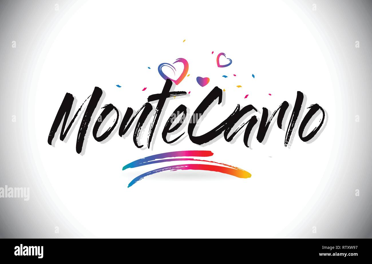 MonteCarlo Welcome To Word Text with Love Hearts and Creative Handwritten Font Design Vector Illustration. - Stock Vector