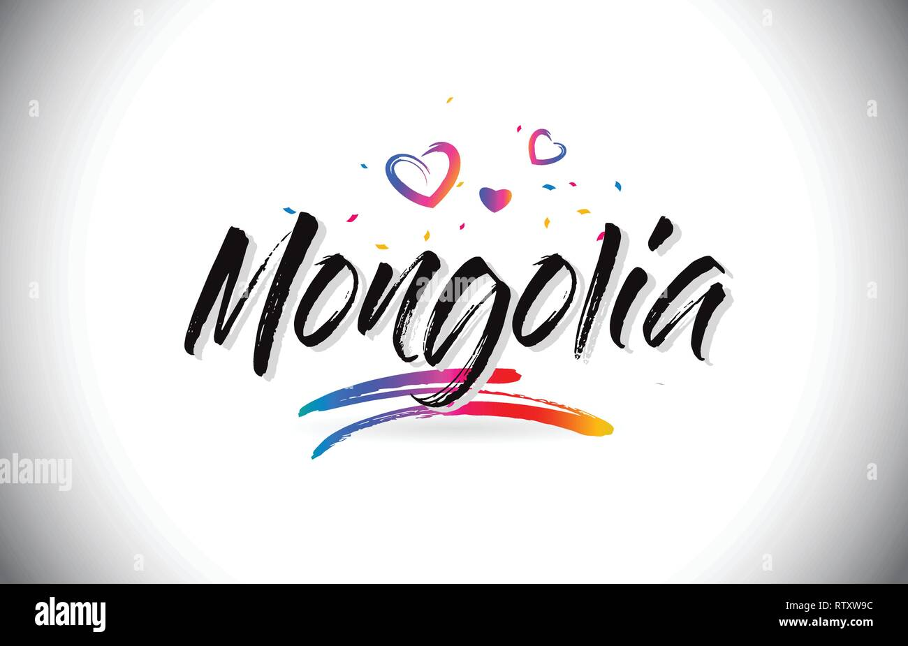 Mongolia Welcome To Word Text with Love Hearts and Creative Handwritten Font Design Vector Illustration. - Stock Vector
