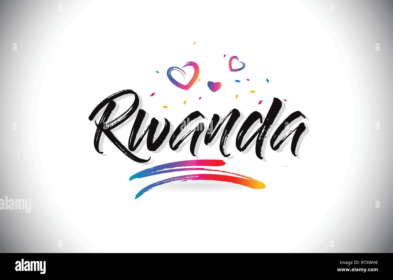 Rwanda Welcome To Word Text with Love Hearts and Creative Handwritten Font Design Vector Illustration. - Stock Vector