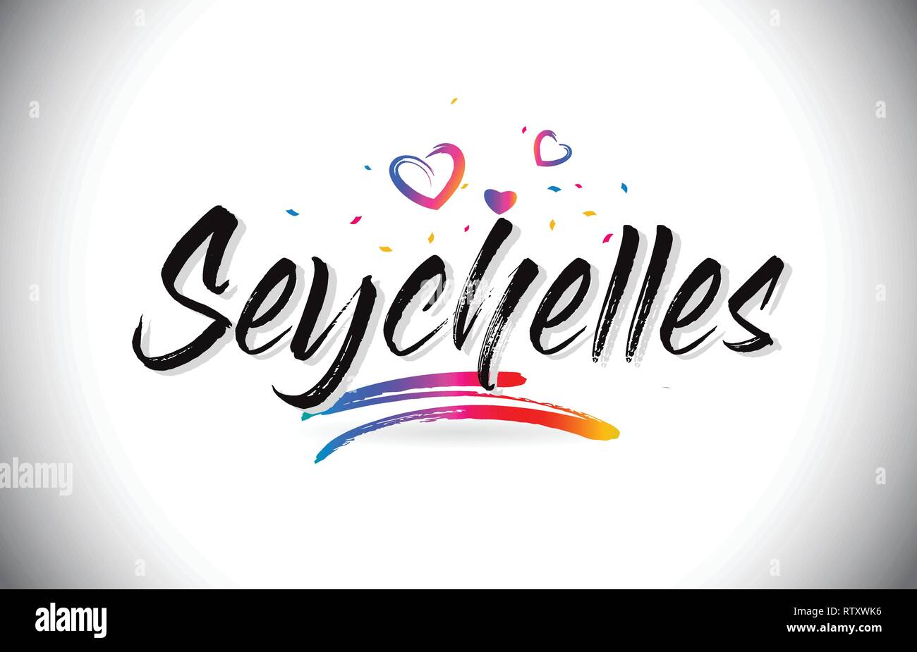 Seychelles Welcome To Word Text with Love Hearts and Creative Handwritten Font Design Vector Illustration. Stock Vector