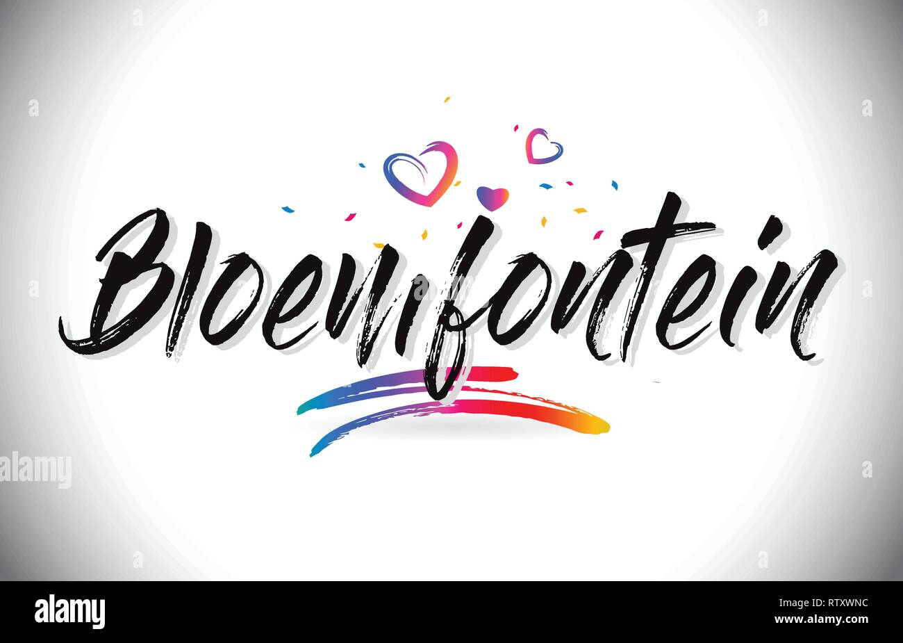 Bloemfontein Welcome To Word Text with Love Hearts and Creative Handwritten Font Design Vector Illustration. - Stock Image