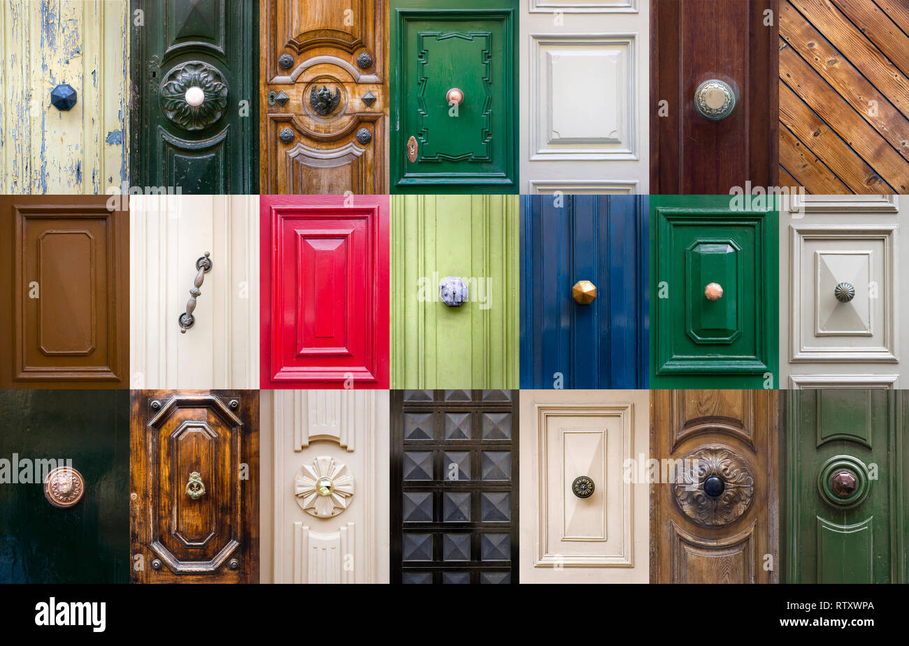 Set of details from traditional front doors at buildings on Malta - Stock Image