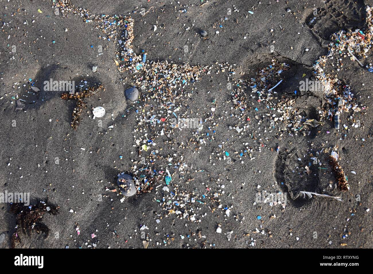 Small plastic parts and microplastics in the sand of Famara beach, Lanzarote, Spain. - Stock Image