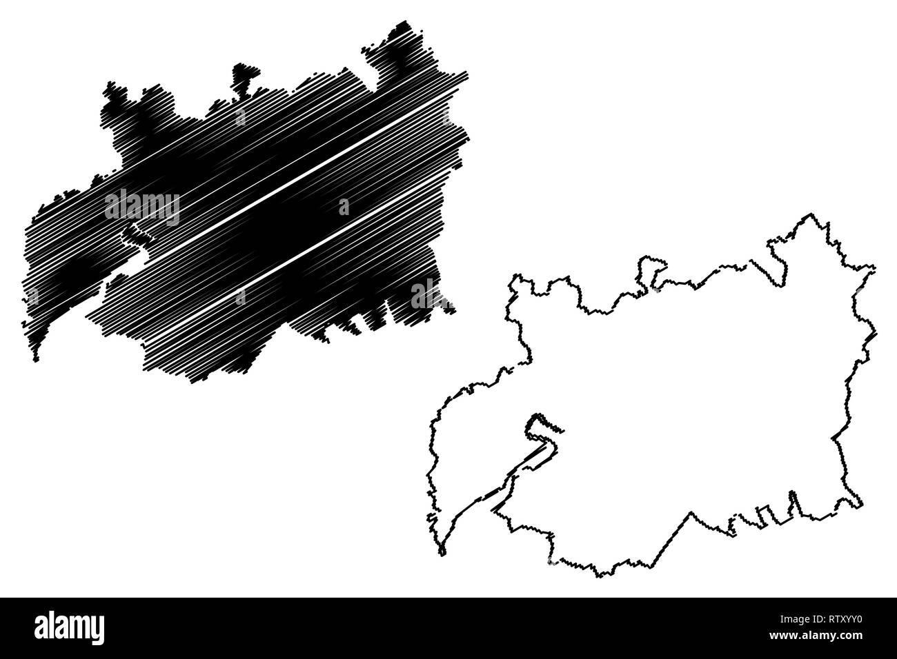 Gloucestershire (United Kingdom, England, Non-metropolitan county, shire county) map vector illustration, scribble sketch Gloucs. (Glos.) map - Stock Vector