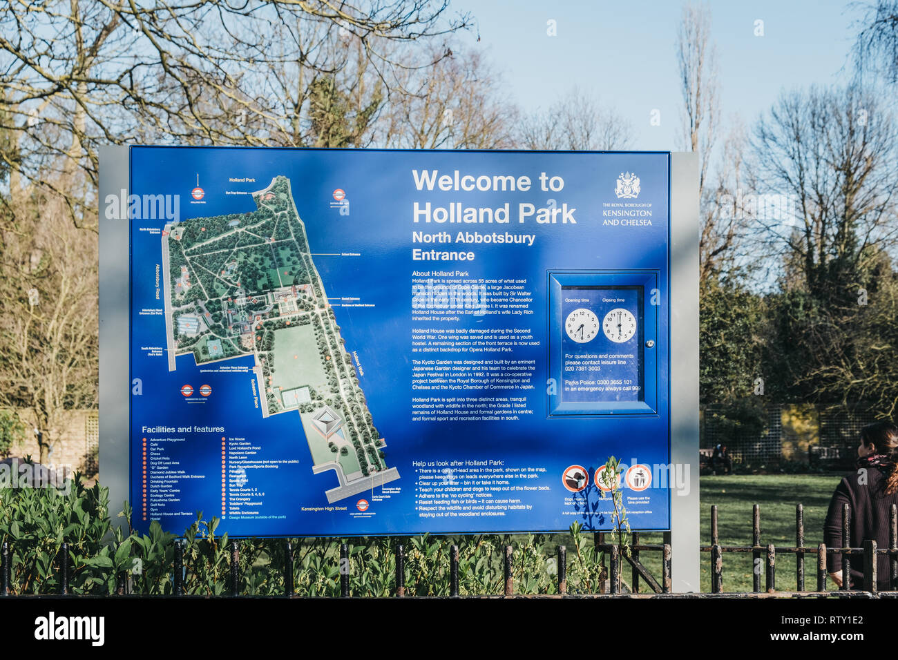 London, UK - February 23, 2019: Welcome sign by North Abbotsbury entrance to Holland Park, London. Holland park is the largest park in Kensington and  Stock Photo