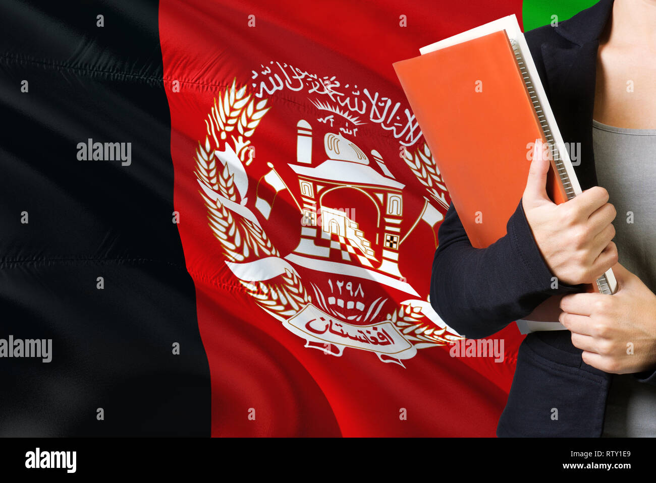 Learning Afghan language concept  Young woman standing with the