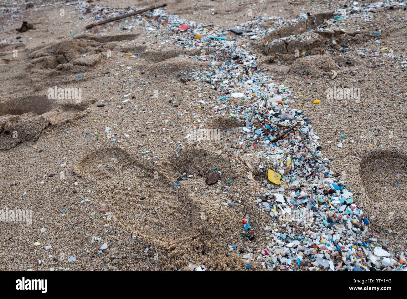 Corigliano Rossano, Italy, 02 March, 2019 -  Microplastics along the Schiavonea beach, transported by the Ionian sea during the last sea storm. The fo Stock Photo