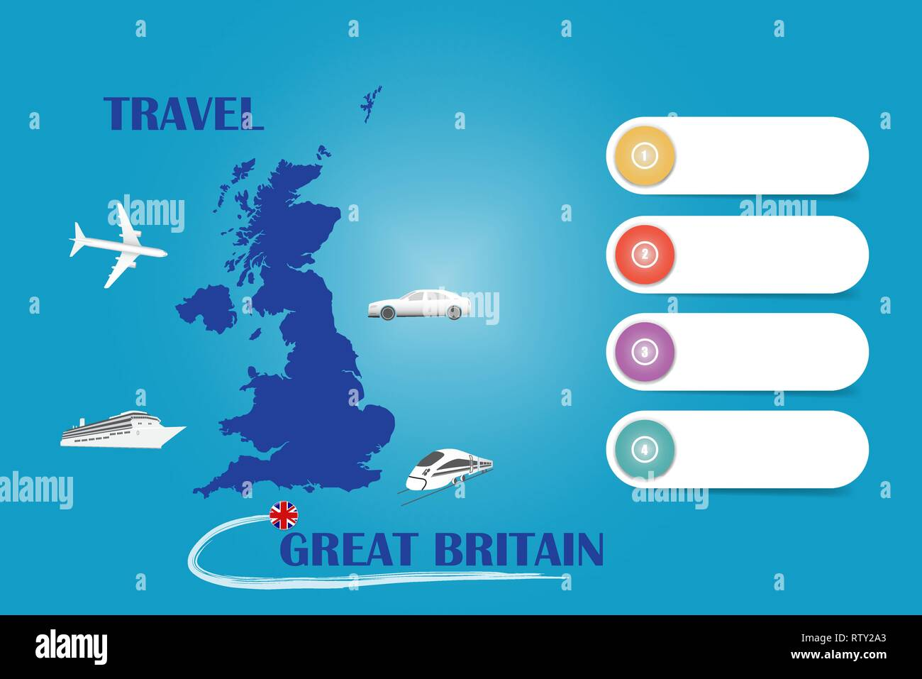 Map Of Uk Template.Travel Great Britain Template Vector For Travel Agencies Etc Vector
